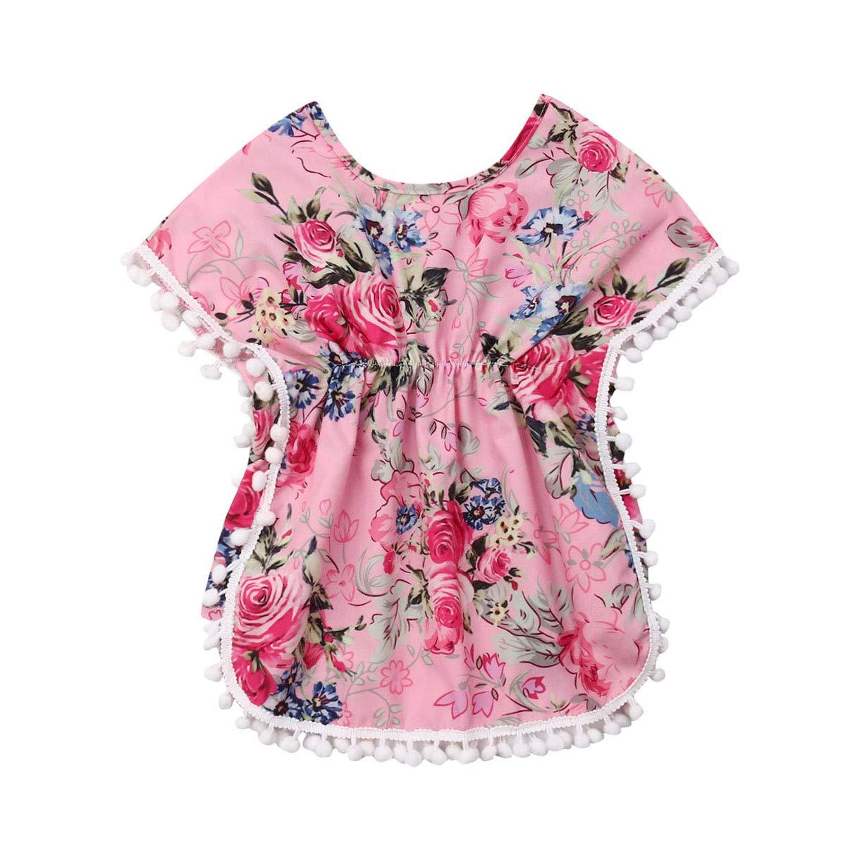 GuliriFei Toddler Baby Girls Swimwear Cover-ups Cotton Linen Cactus Beach Tassel Sundress Summer Poncho