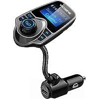 VicTsing Transmisor FM Bluetooth con Manos Libres de MP3 Cargador de DVD con Audio de 3.5mm Mic Puerto, Ranura para Tarjeta del TF para Coche - Gris