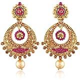 I Jewels Gold Plated Chandbali Earrings for Women E2326Q (Pink)