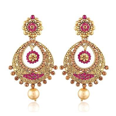 buy i jewels gold plated chandbali earrings for women e2326q pink