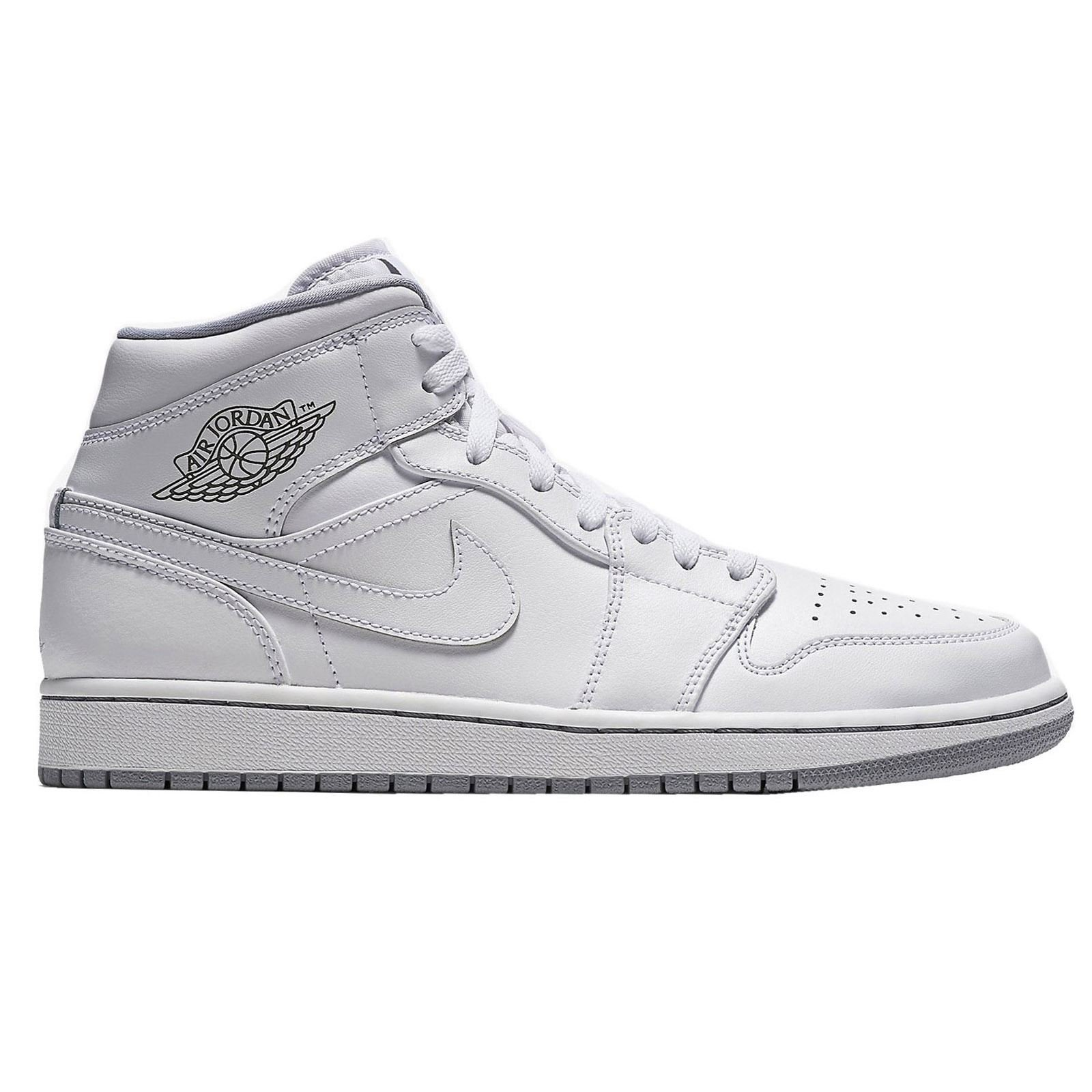 NIKE Youths Air Jordan 1 Mid White Leather Trainers 38.5 EU by NIKE
