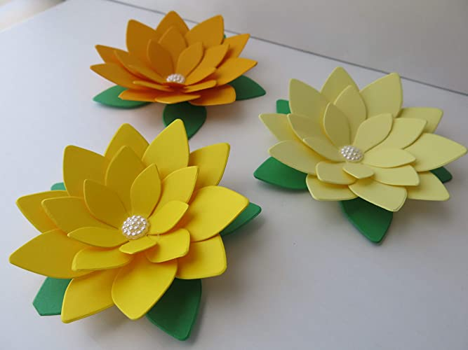 Amazon Yellow Ombre Lotus Flowers 3 Paper Water Lilies 4