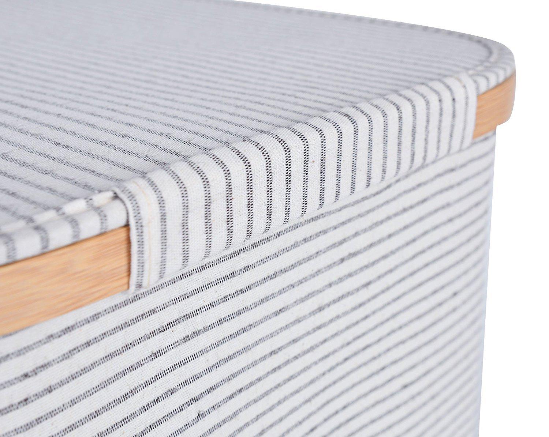 Mr.do Cesta de lavander/ía con tapa Cesta de almacenamiento para ropa Juguetes ni/ños Tela Algod/ón y lino Marco de bamb/ú Negro Blanco Strip 41L