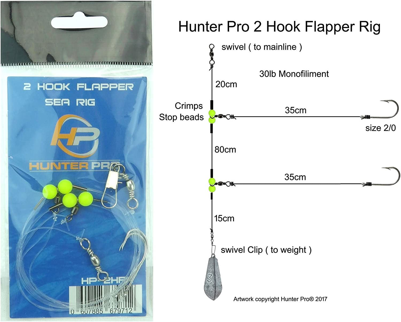 SINGLE HOOK FLAPPER RIGS X5 BASS COD FLOUNDER SEA FISHING TRACE FREE POSTAGE
