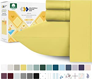 California Design Den Sunshine Yellow Sheets Twin-XL Size - 400 Thread Count 100% Pure Cotton, Smooth Sateen Weave 3 Piece Sheet Set, Elasticized Deep Pocket Fits Low Profile Foam and Tall Mattresses