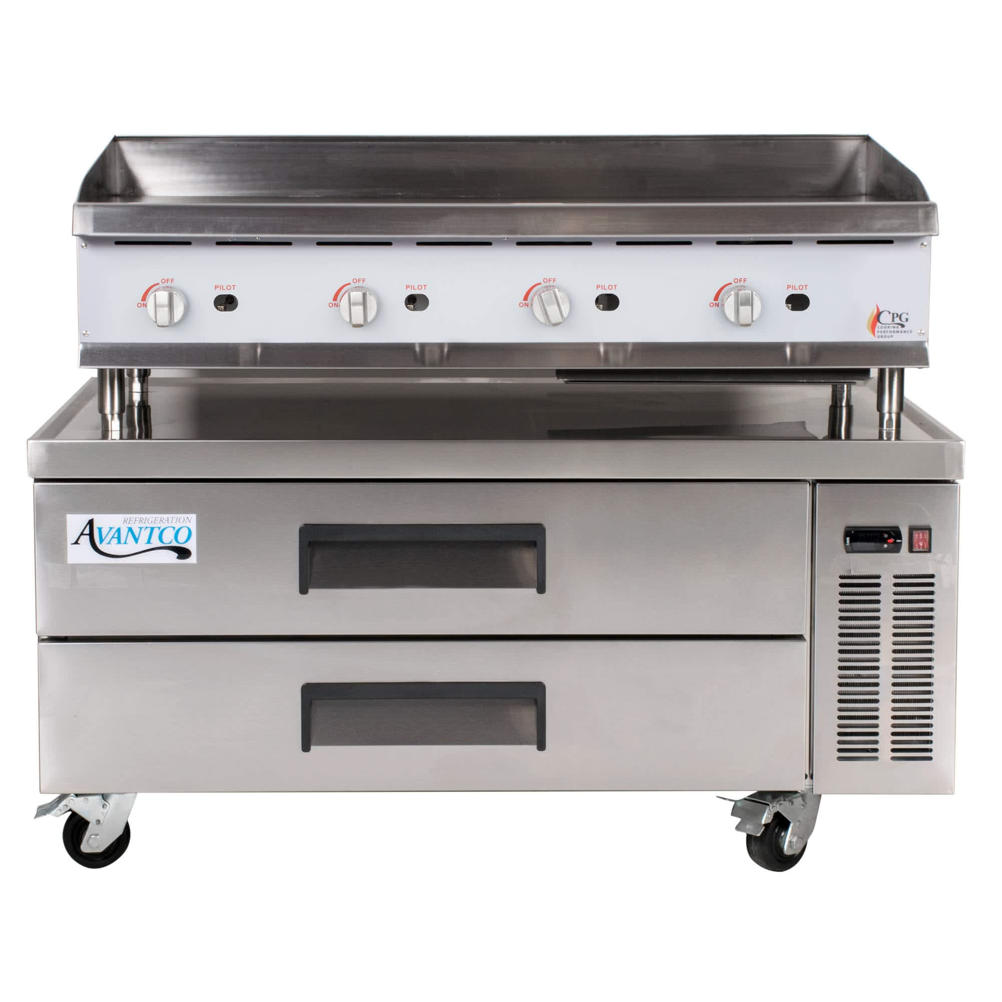 TableTop King 48GMRBNL 48'' Gas Countertop Griddle with Manual Controls and 2 Drawer Refrigerated Chef Base - 120,000 BTU