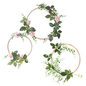 Ling's moment Summer Greenery Wedding Handcrafted Vine Wreaths Set of 3, Christmas Decor Rustic Wedding Backdrop, Artificial Roses Plant Flower Garland, Woodland Wedding Decoration Floral Hoop