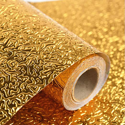 Aluminum Foil Paper Wall Sticker Self-Adhesive Oil Proof Decors Kitchen Supplies