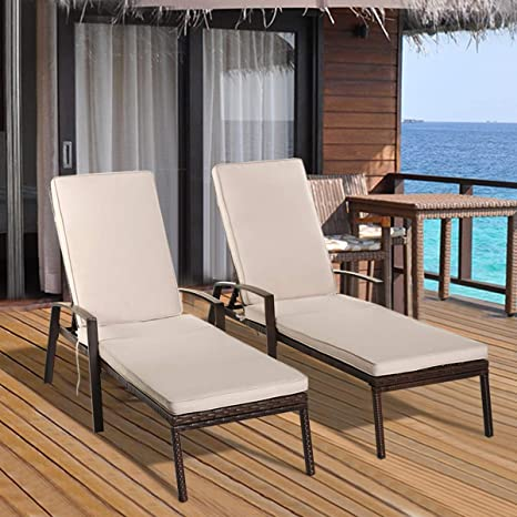 Miraculous Tangkula Set Of 2 Patio Furniture Outdoor Rattan Wicker Lounge Chair Set Adjustable Poolside Chaise With Armrest And Removable Cushions Inzonedesignstudio Interior Chair Design Inzonedesignstudiocom