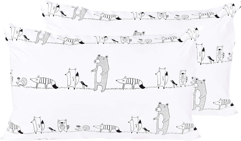 12 J-pinno Llamas Cartoon 2 Pcs Pillowcase 100/% Natural Cotton 20 X 30 for Kids Toddler Boys Girls Bedding Decoration