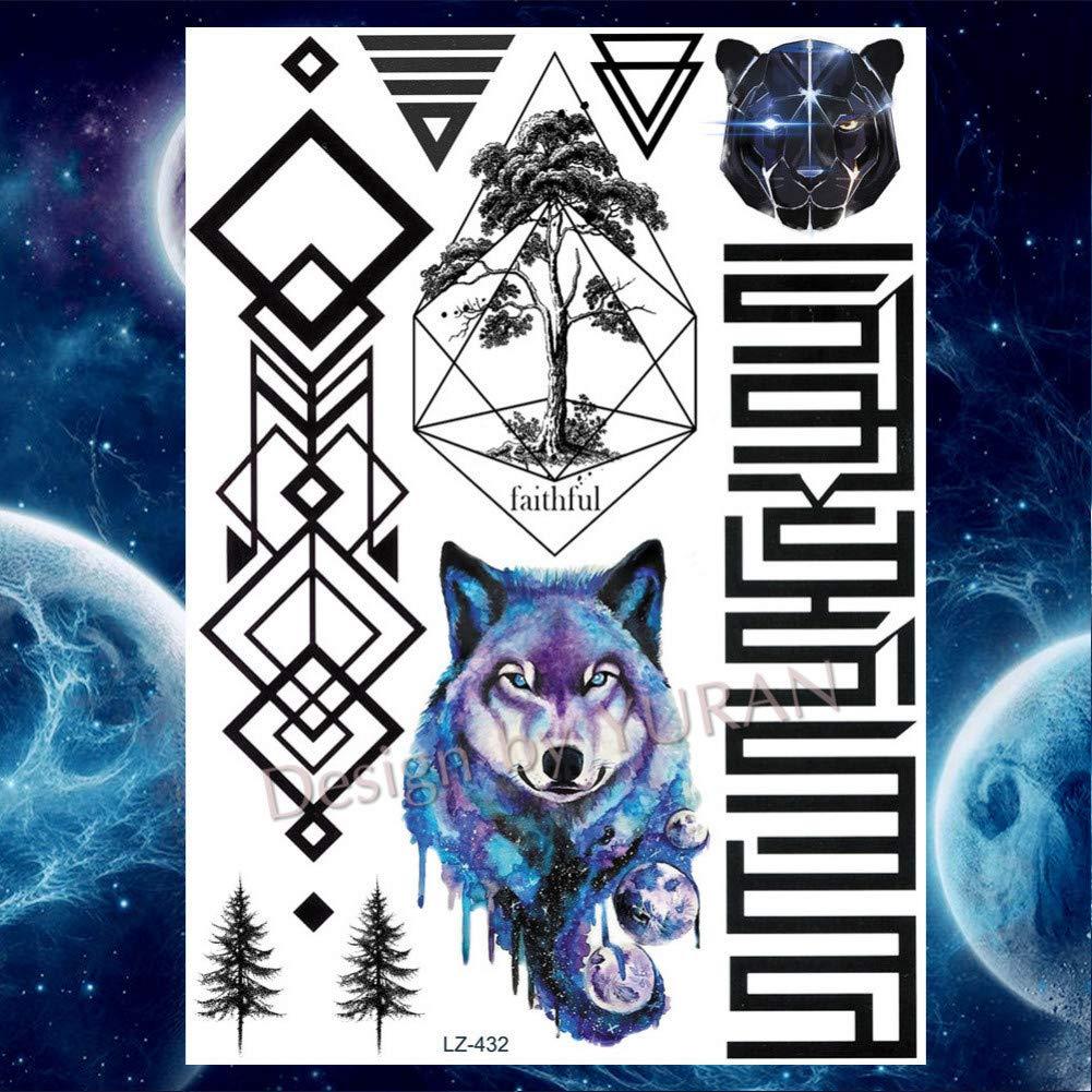 GHHCG Fox Wolf Animales Cuerpo Brazo Bosque Tatuajes Pegatinas ...