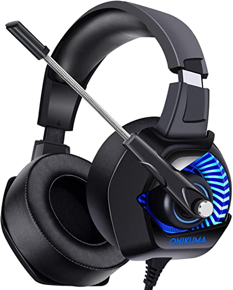 Soft Memory Earmuffs Over-Ear Headphone for Gaming,Red PC,Gaming Headphone with Adjustable Noise Cancelling Mic LED Light HUIGE Headset for PS4