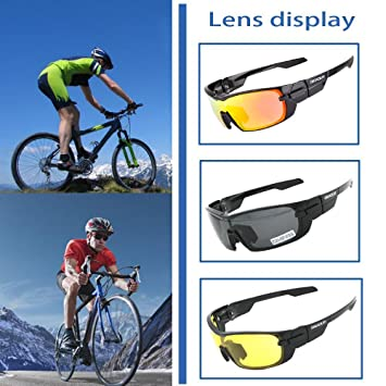 ca69e7aa2f Amazon.com  GIEADUN Sports Sunglasses Polarized UV400 Protection Cycling  Glasses with 3 Interchangeable Lenses for Cycling