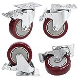 4'' PVC Heavy Duty Swivel Caster Wheels Lockable Ball Bearing 220lbs each (Set of 4) - Red