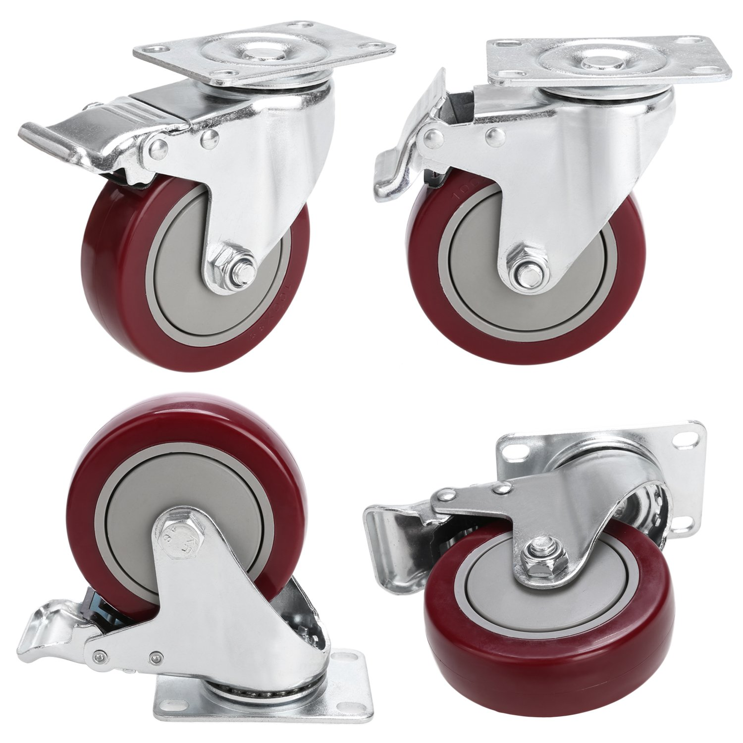 4'' PVC Heavy Duty Swivel Caster Wheels Lockable Ball Bearing 300lbs each (Set of 4) - Red