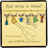 Hawaiian Paradise Wine Charms Set of 6, Painted