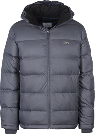 40b598fff Lacoste Men s Grey Quilted Jacket 48  Amazon.co.uk  Clothing