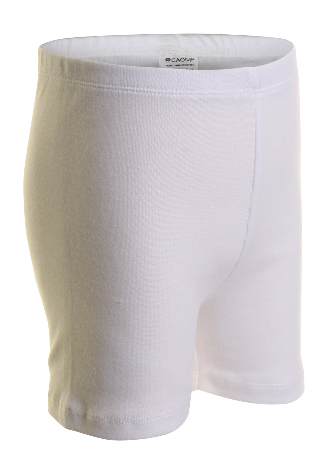 CAOMP Girls' Bike Short 100% Organic Cotton for Sports and Under Skirts (7-8, White)