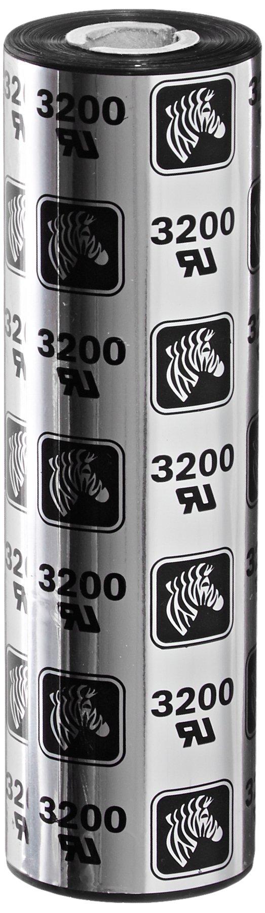Zebra Technologies 03200GS11007 3200 Wax Resin Print Ribbon, Thermal Transfer, 4.3'' x 242', 110 mm x 74 m, Black (Pack of 12) by Zebra Technologies