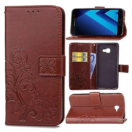Funda Para Samsung Galaxy A5 (2017 Version , 5.2 pulgada) , pinlu® Alta Calidad Función de plegado Flip Wallet Case Cover Carcasa Piel PU Billetera Soporte ...