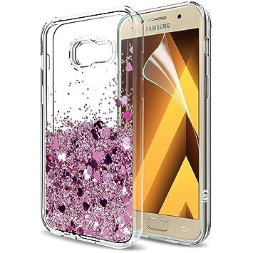 LeYi Compatible with Funda Samsung Galaxy A3 2017 con HD Protectores de Pantalla,Silicona Purpurina Carcasa Transparente Cristal Bumper Telefono Gel ...