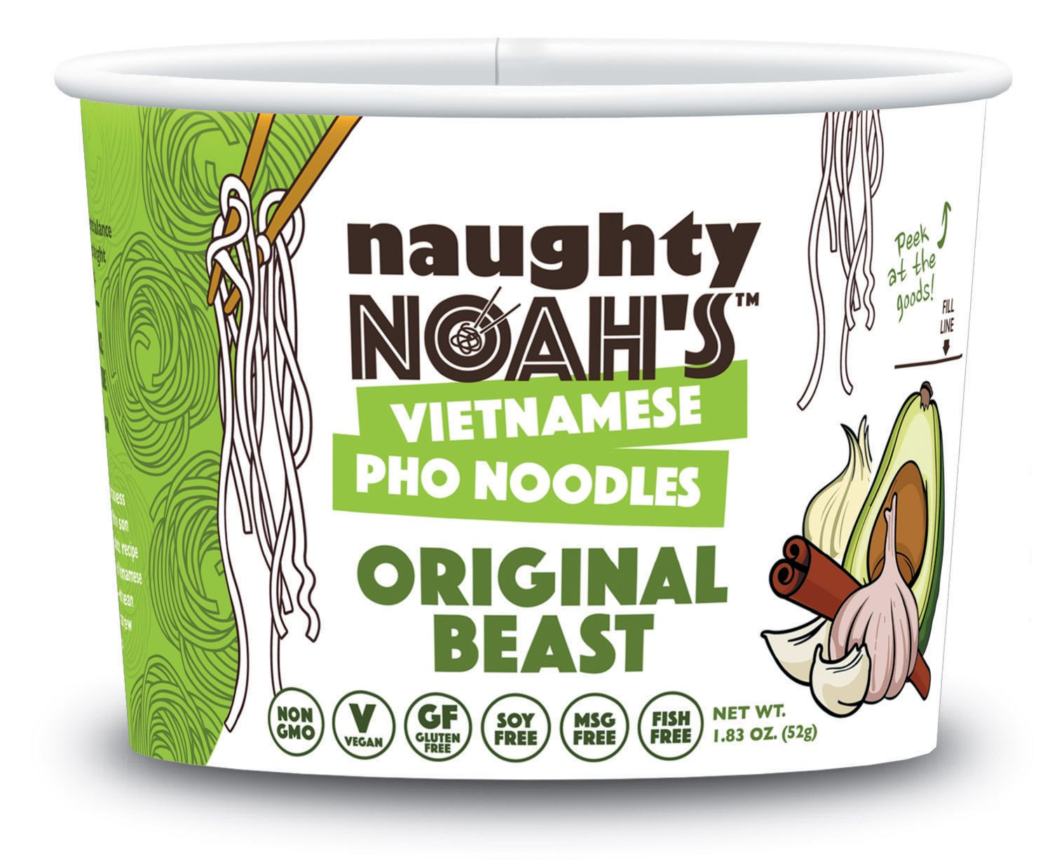 Naughty Noah's Vietnamese Pho Noodles | Original Beast Flavor (6-pack) | Vegan | Non-GMO | Noodle Bowl