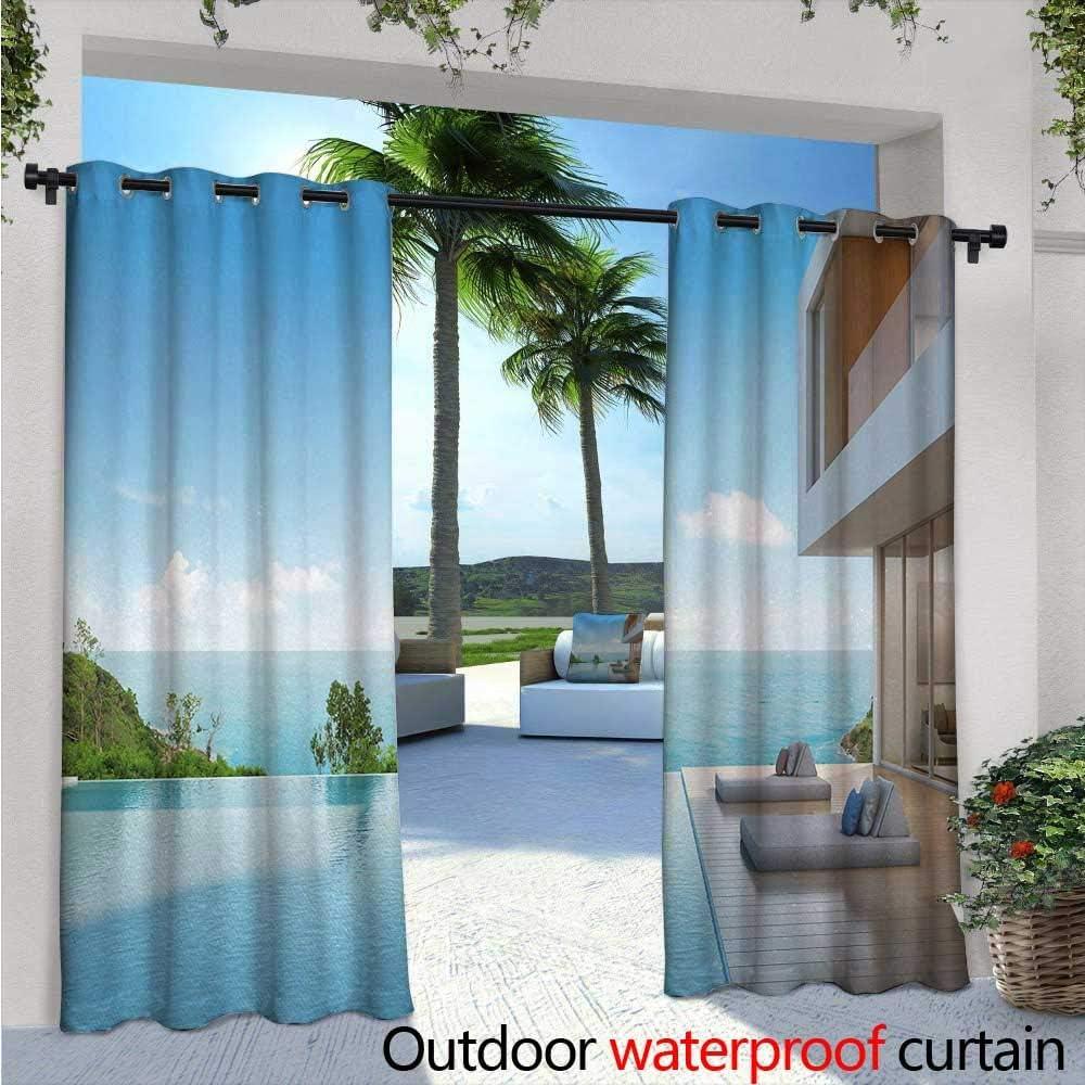 Cortina blanca de privacidad para exteriores para pérgola grandes y nidadas, círculos, para soltar sobre las ondas oceánicas conceptuales, diseño inspirado en el mar, aislante térmico, repelente al agua, para balcón, azul
