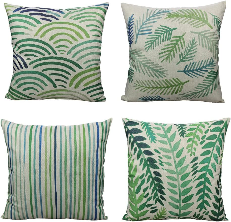 All Smiles Outdoor Green Leaves Plant Throw Pillow Covers Cases Decorative Tropical Rainforest Palm Leaves Cushion Square Cotton Linen 18 x 18 Set of 4 for Sofa Patio Couch …