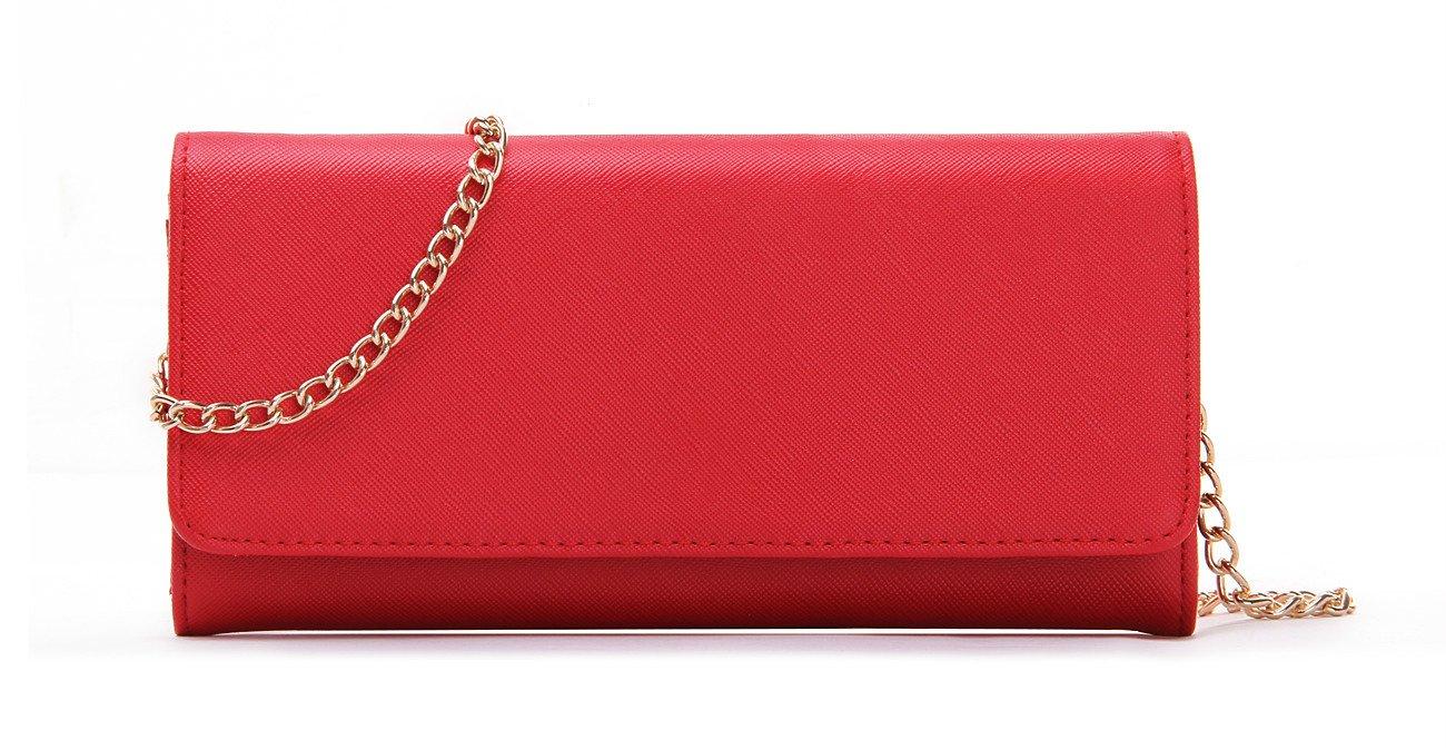 Women's Faux Saffiano Leather Bifold Cross Body Clutch Wallet (Red)
