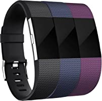 for Fitbit Charge 2 Bands (3 Pack), Vancle Replacement Wristbands Soft Comfortable Accessory Strap for Fitbit Charge 2...