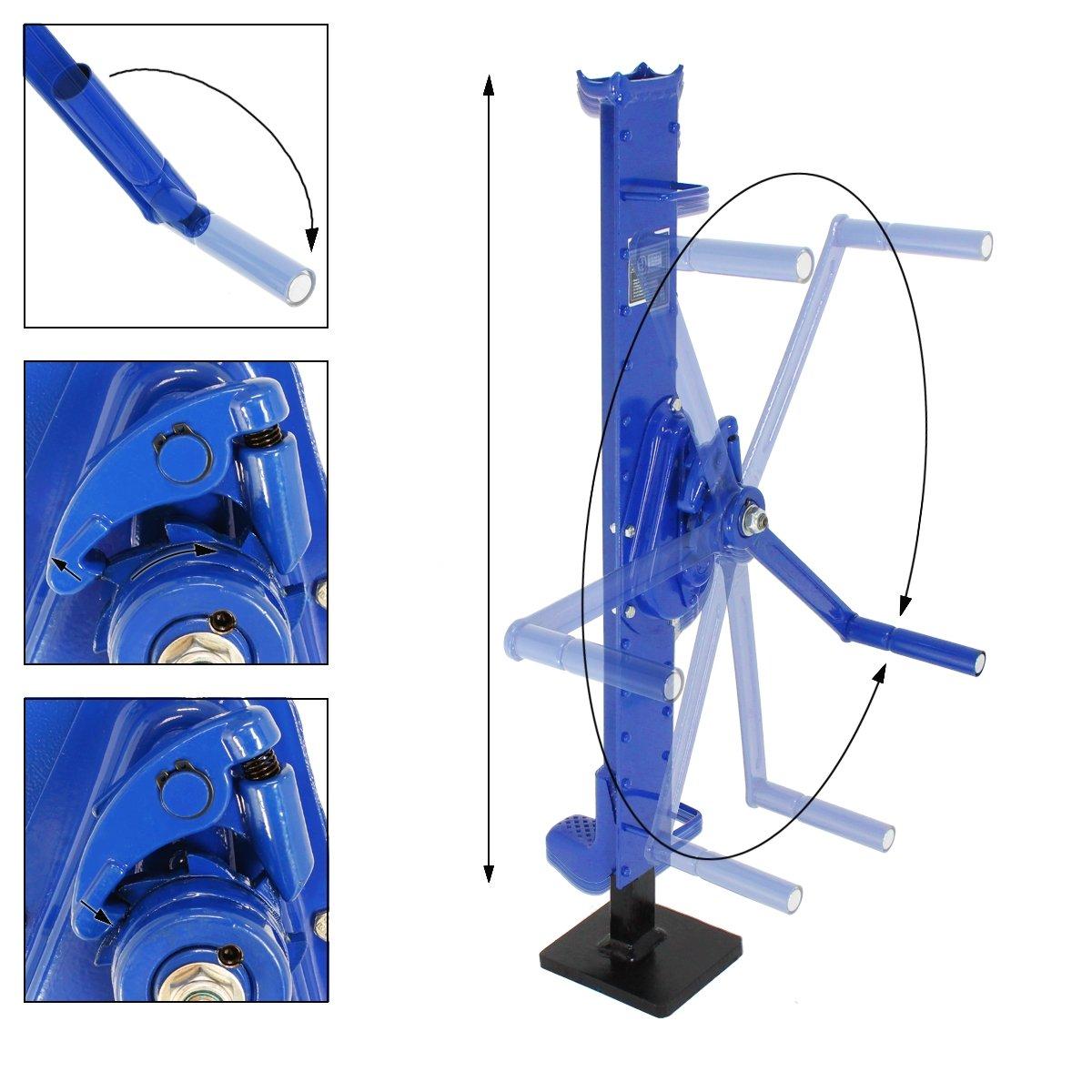 ECD Germany Gato mecánico con Cremallera en Acero 1,5 toneladas Elevador de Carga Extensible con manivela y asa de Transporte Base de Placa 14 cm x 13 cm: ...
