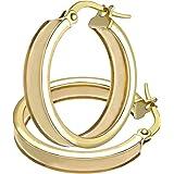 Citerna 9ct Elegant Grooved Hoop Earrings of 15mm Diameter
