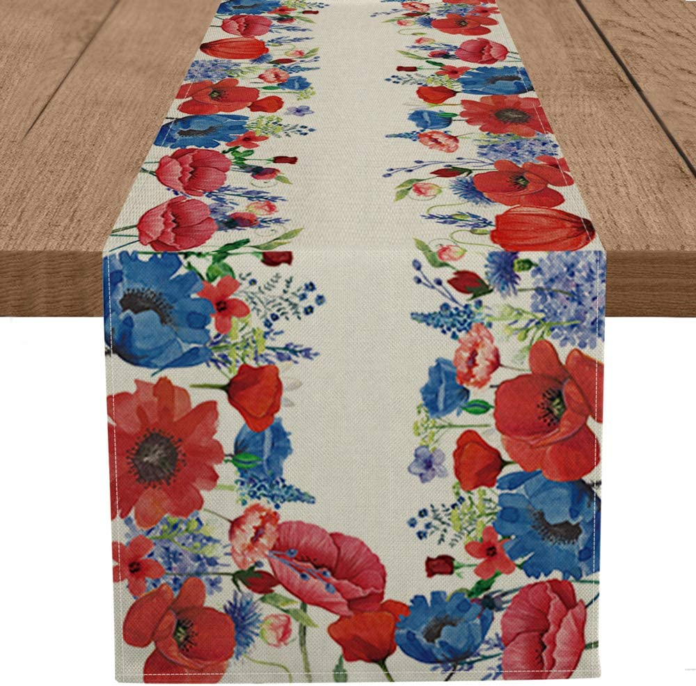 Artoid Mode Corn Poppy Flowers Table Runner, Seasonal Spring Summer 4th of July Patriotic Memorial Day Independence Day Kitchen Dining Table Decorations for Home Party Decor 13 x 72 Inch