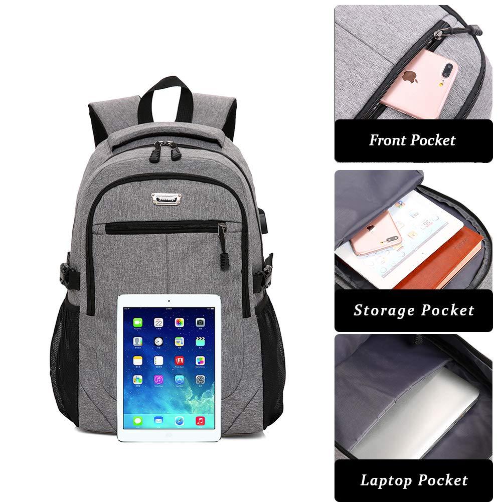 bc03ee1f02e3 防水 USB充電ポート付き ノートパソコンバックパック 耐久性 ビジネス用 ...