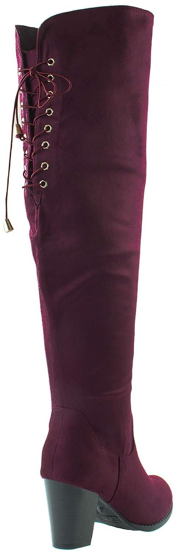 Asushoes Moda Carmen-10 - Botas Botas Botas de tacón apilado para Mujer, elásticas, con Cordones 781852