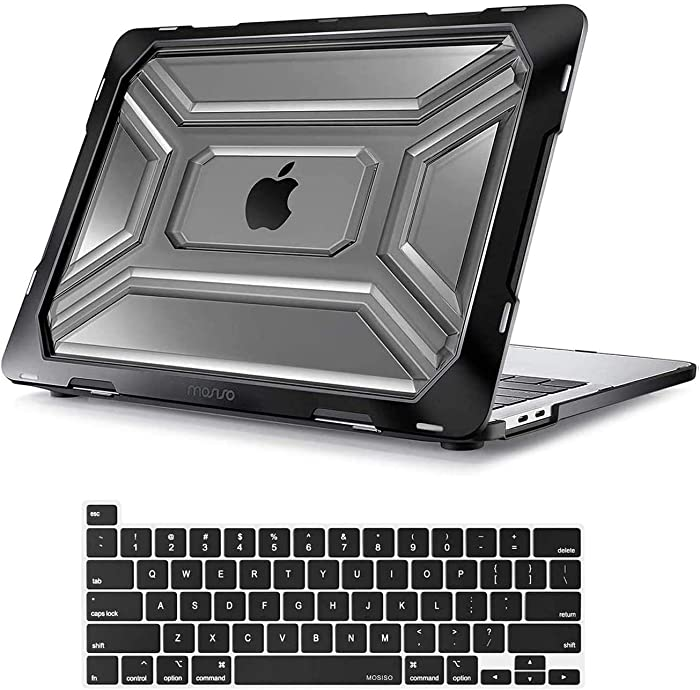MOSISO MacBook Pro 13 inch Case 2020 Release A2289 A2251, Heavy Duty Plastic Hard Shell Case with TPU Bumper & Keyboard Cover Only Compatible with MacBook Pro 13 inch with Touch Bar, Black