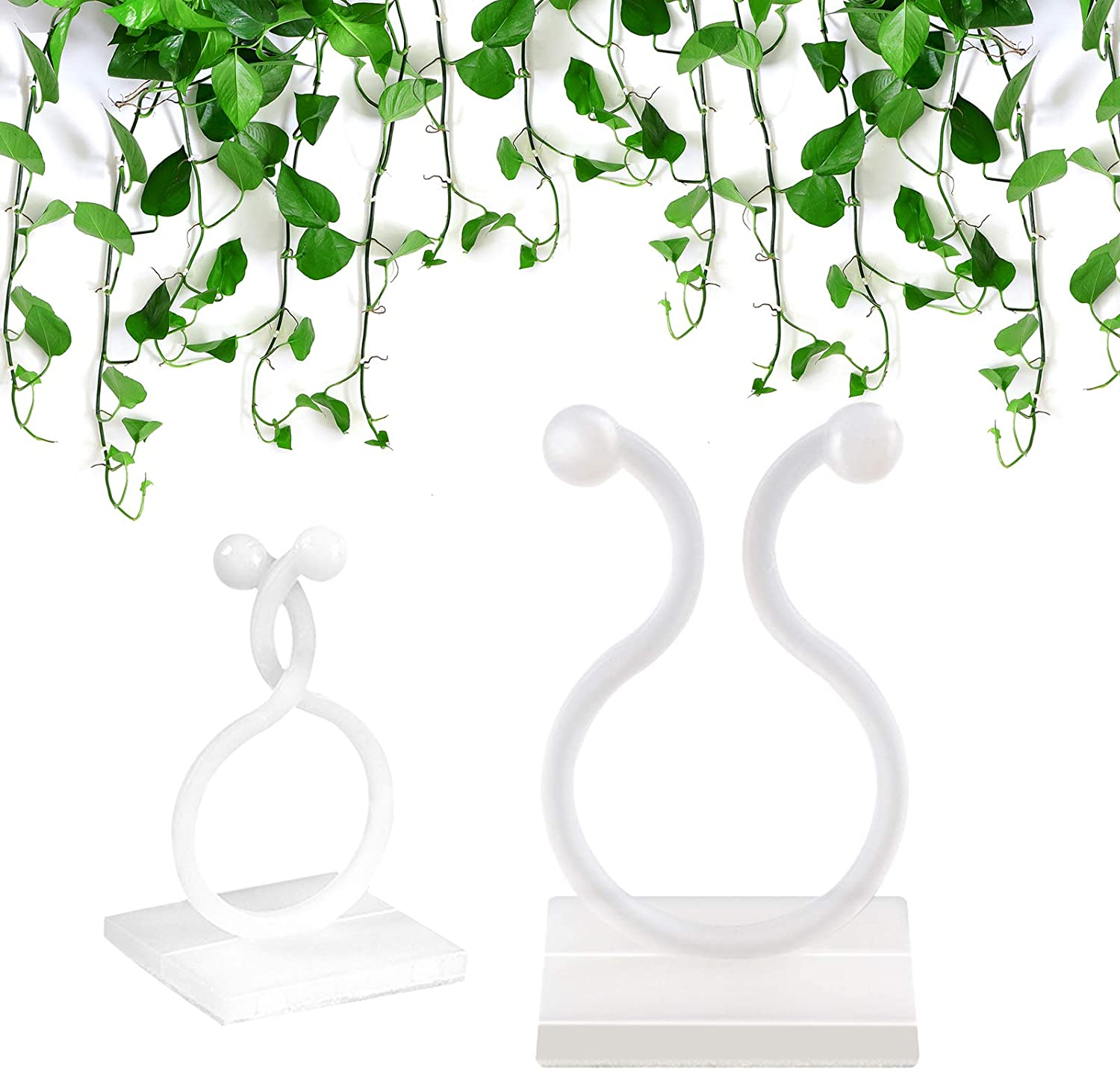 CHAOMIC 100PCS Invisible Wall Vines Fixing Clips Plant Climbing Wall Fixture Clips Vines Self-Adhesive Hook Clip Vine Plant Climbing Wall Fixer Vines Holder for Home Decoration (White,M)