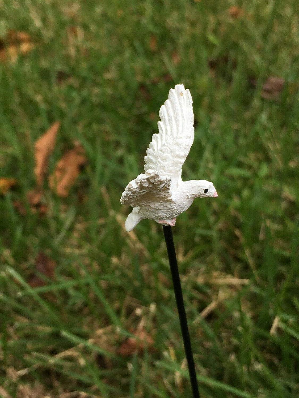 Miniature White Dove On A Pick, Fairy Garden Bird in Flight, Garden Access