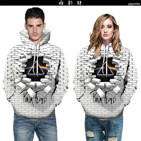 Graphic Pattern Crewneck Long Sleeve Hoodies Fashion Unisex Pink Floyd 3D Print Hooded Sweatshirt,XL