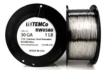 TEMCo Stainless Steel Wire SS 316L - 30 Gauge 1 lb (3717 ft) Non ...
