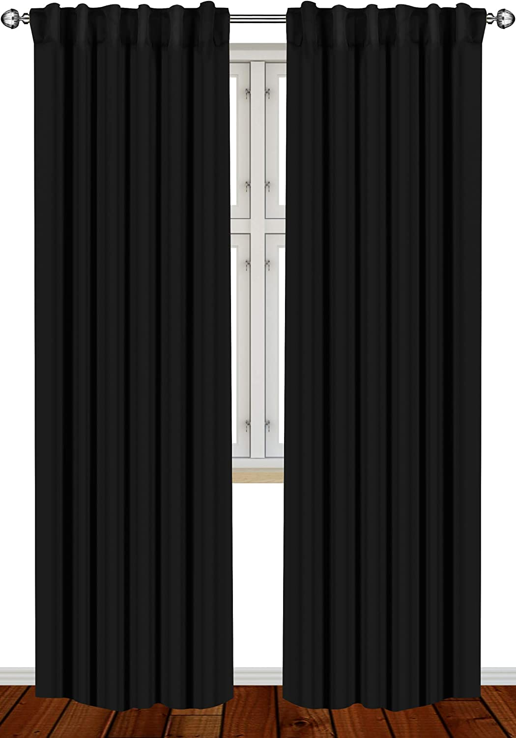 Blackout Curtains 2 Panels for Room Darkening Thermal Insulated Window Black
