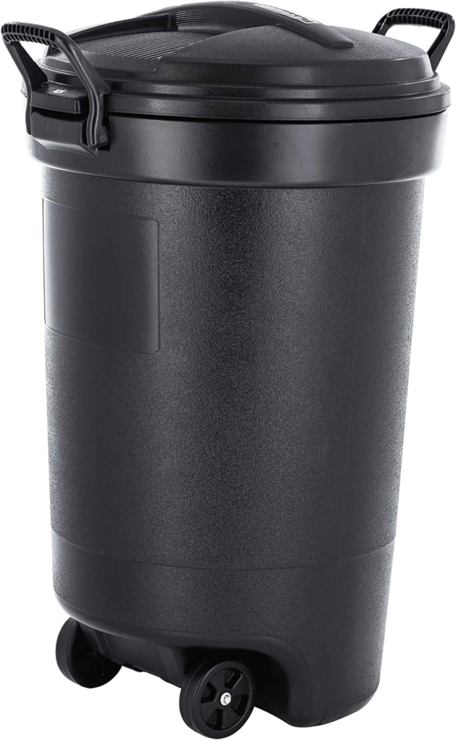 Rubbermaid RM133901 32 Gallon Outdoor Waste Garbage Bin with Attached 2 Heavy-Duty Locking Handles, Snap Shut Lid, 32gal Trash, Black