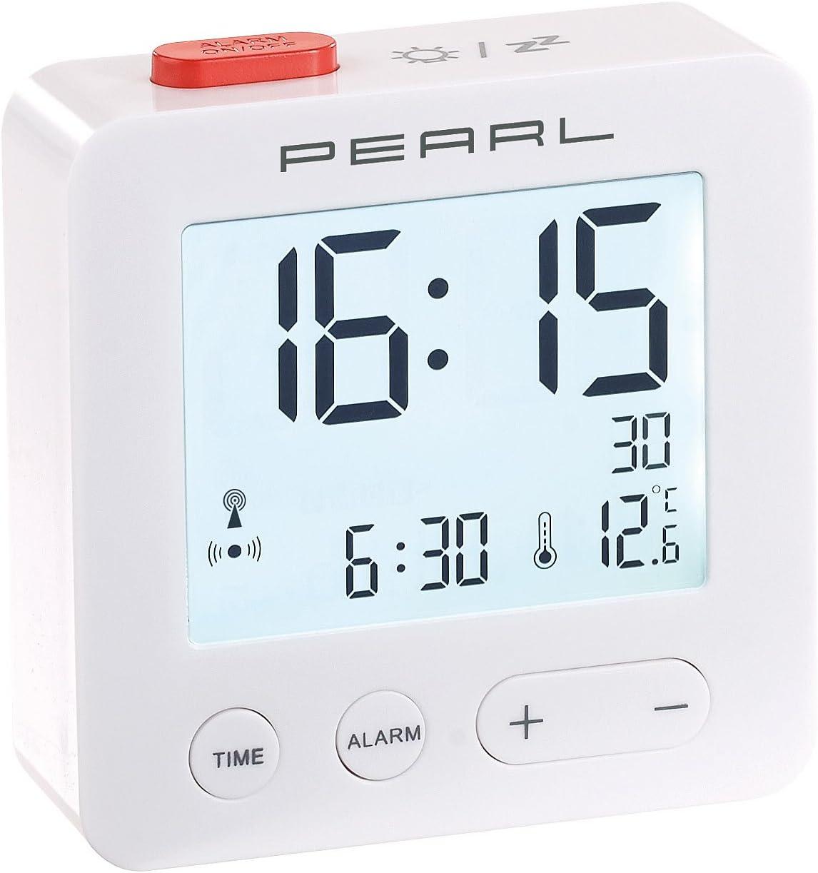 6,6 x 6,6 x 2,1 cm Pearl Sveglia Viaggio con termometro e Display Illuminato radiosveglia Digitale Bianco