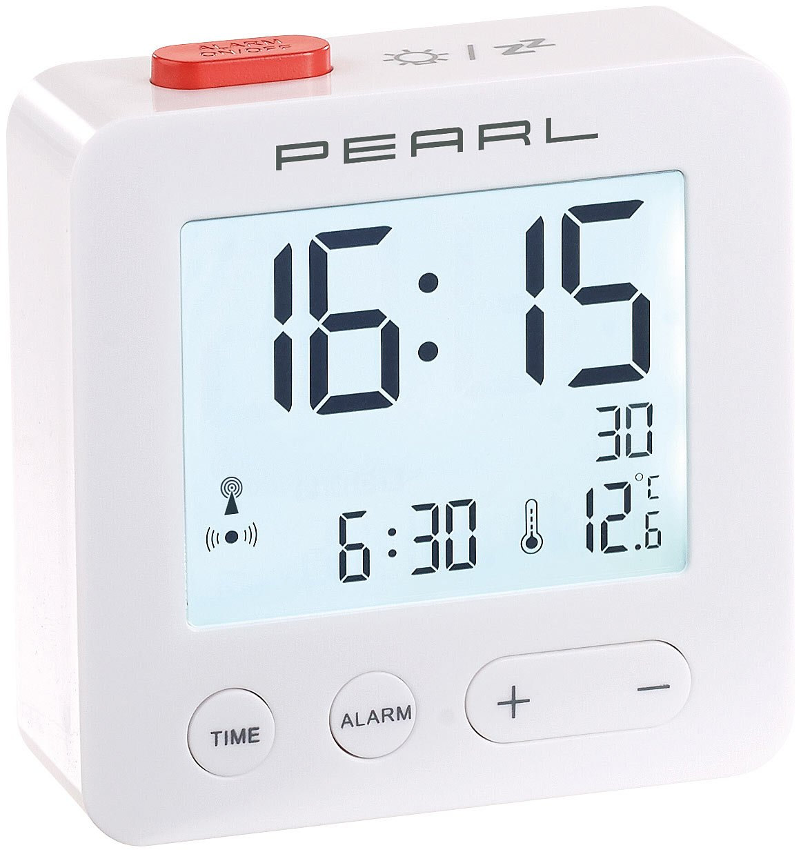pearl funkwecker digitaler reise funk wecker mit thermometer und ebay. Black Bedroom Furniture Sets. Home Design Ideas
