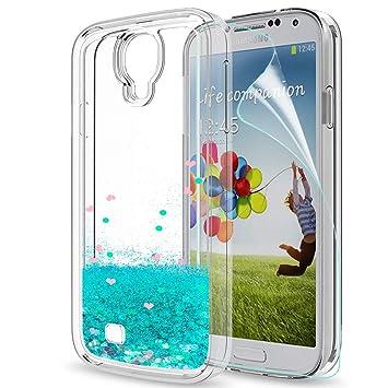 LeYi Compatible con Funda Samsung Galaxy S4 Silicona Purpurina Carcasa con HD Protectores de Pantalla,Transparente Cristal Bumper Telefono Gel TPU ...