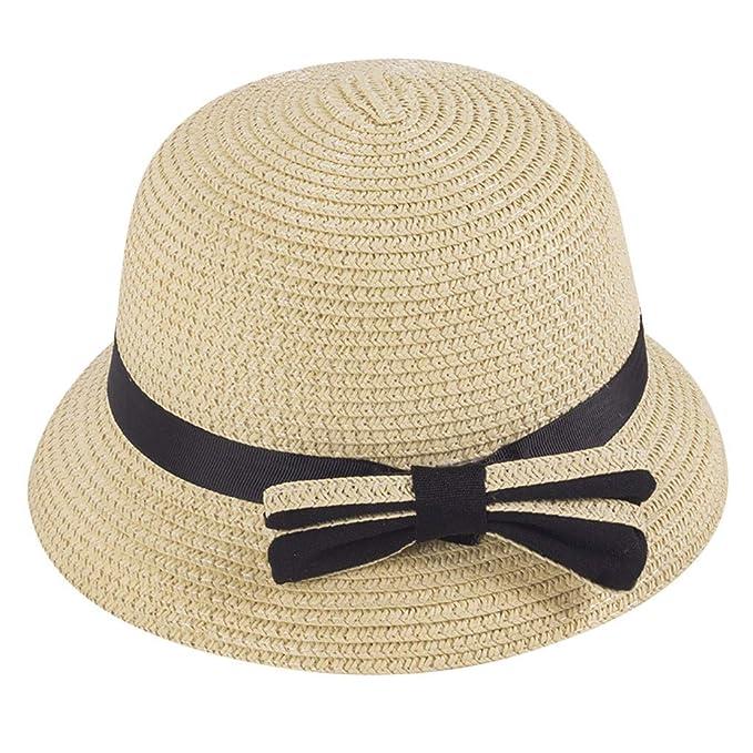 Children Straw Boater Hat Summer Sun Beach Hat Outdoor UPF 50+ Boonie Hat  Caps Wide 3ed104d87e0f