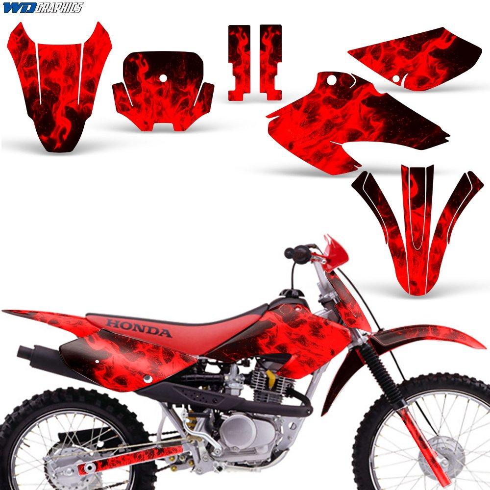 Honda Xr80 Xr100 2001 2003 Decal Graphics For Dirt Bike 2002 Xr 100 Wiring Diagram Mx Sticker Motocross Deco 80 Flames Red Automotive