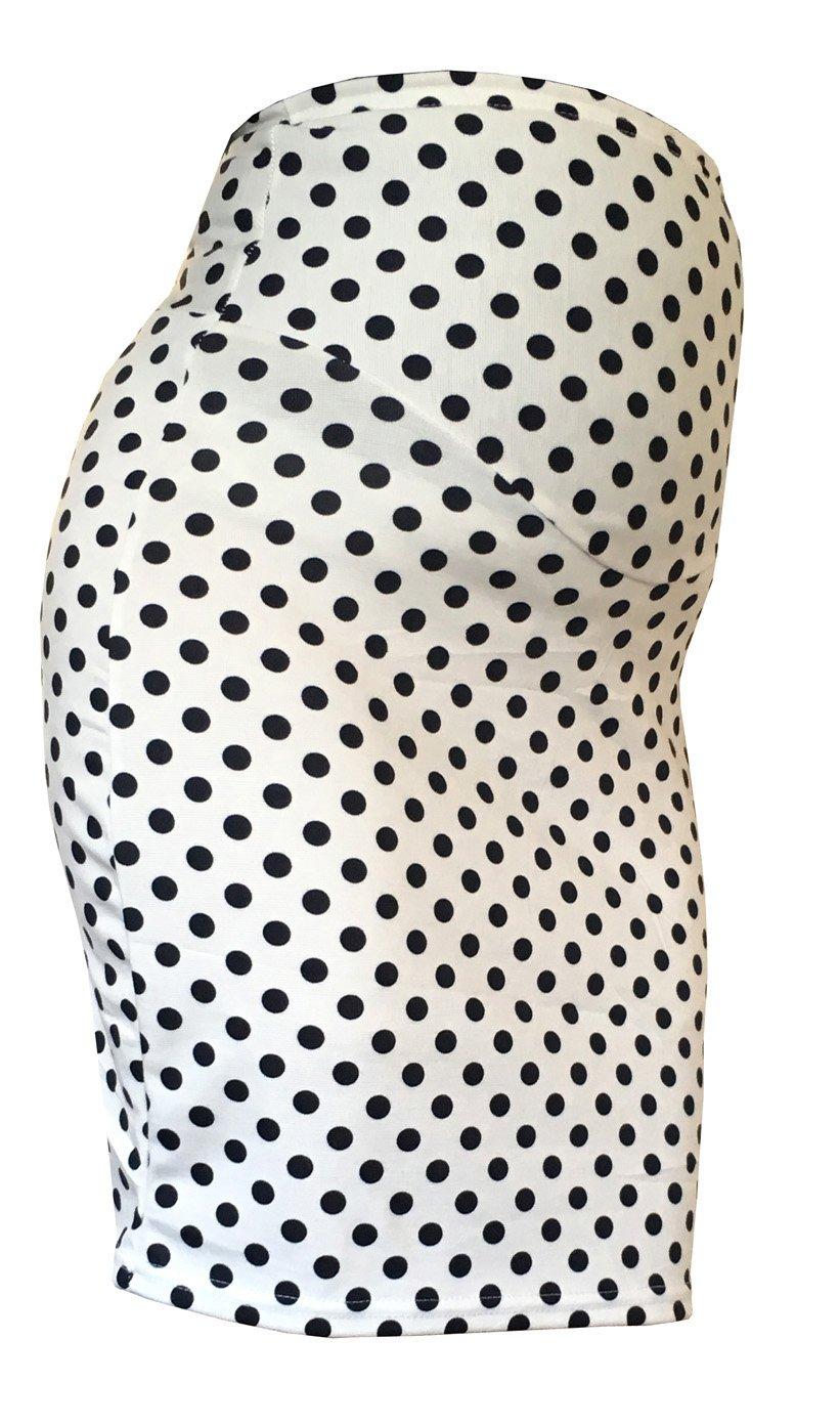 Smartenity Maternity DOT Stretch Pencil Bodycon MIDI Skirt Over Bump Pregnancy PP-BWXS