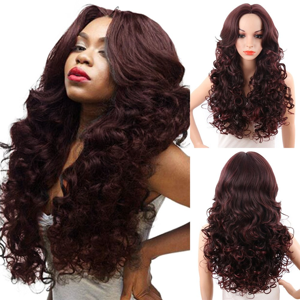 KRSI Long Wavy Curly Synthetic Hair Wigs for Black Women 28Inch Natural Black Wigs With Bangs Heat Resistant None Lace African American Women's Wigs+Free Cap (Black)