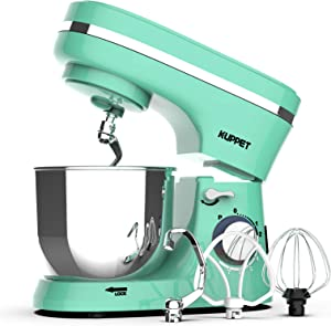 Kuppet Stand Mixers, 380W, 8-Speed Tilt-Head Electiric Food Stand Mixer with Dough Hook, Wire Whip & Beater, Pouring Shield, 4.7QT Stainless Steel Bowl. (Green)